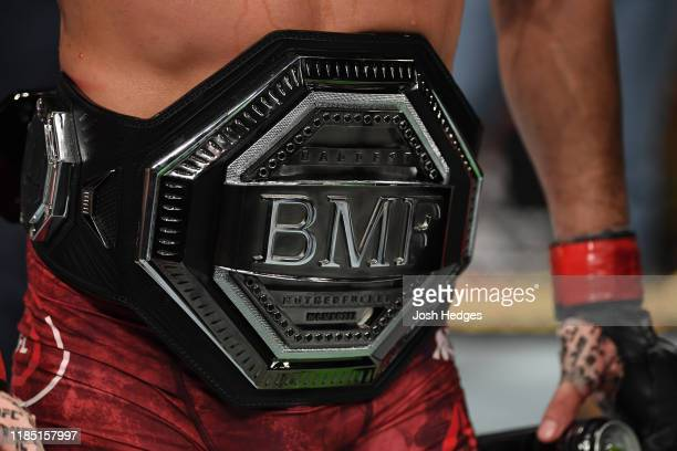 Detail shot of the BMF Belt after Jorge Masvidal defeats Nate Diaz in their welterweight bout for the BMF title during the UFC 244 event at Madison...