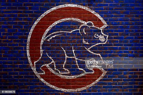A detail shot of the Chicago Cubs logo on a wall during the workout day for the 2016 World Series between the Cleveland Indians and the Chicago Cubs...