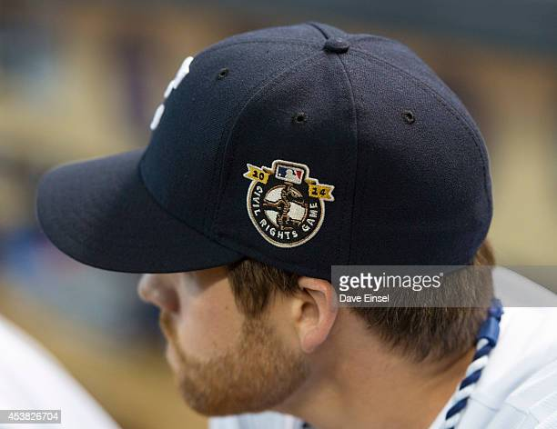 A detail shot of the Civil Rights Game logo on the hat of a Houston Astros player before the Civil Rights Game game between the Baltimore Orioles and...