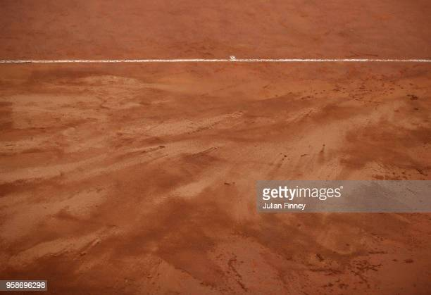 A detail shot of the clay court after rain fall during day three of the Internazionali BNL d'Italia 2018 tennis at Foro Italico on May 15 2018 in...