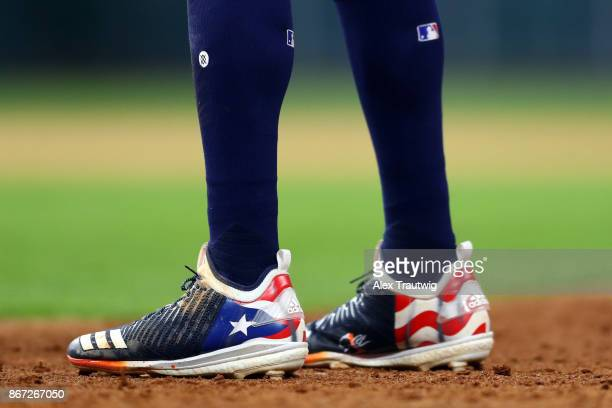 A detail shot of the cleats of Carlos Correa of the Houston Astros during Game 3 of the 2017 World Series against the Los Angeles Dodgers at Minute...