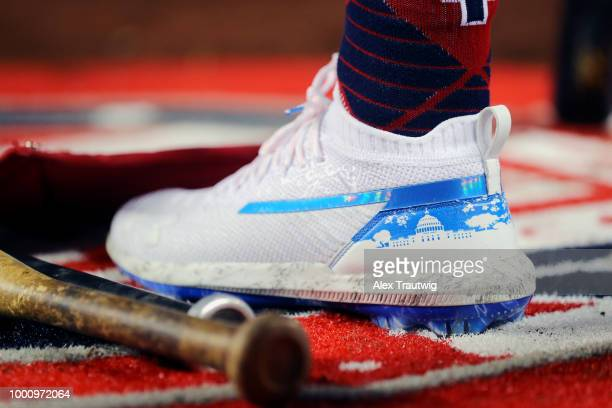 A detail shot of the cleats worn by Bryce Harper of the Washington Nationals during the the 89th MLB AllStar Game at Nationals Park on Tuesday July...