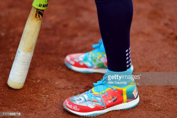 A detail shot of the cleats worn by Francisco Lindor of the Cleveland Indians prior to the game between the Cleveland Indians and the Washington...
