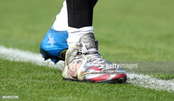 A detail shot of the cleats worn by Paul Posluszny of the Jacksonville Jaguars as he warms up on the field prior to the start of their game against...