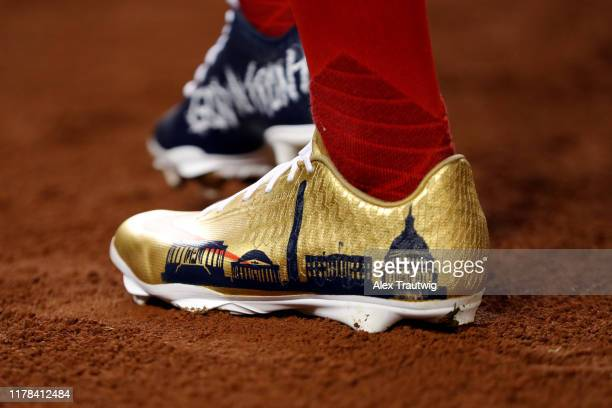 Detail shot of the cleats worn by Victor Robles of the Washington Nationals during Game 4 of the 2019 World Series between the Houston Astros and the...