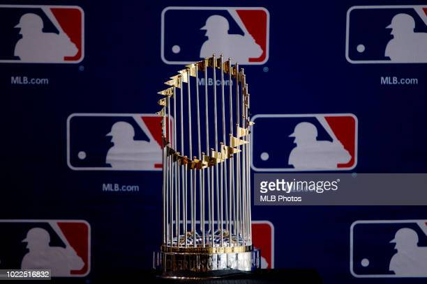 A detail shot of the Commissioners Trophy as seen during the Major League Baseball Diversity Business Summit at the Hyatt Regency McCormick Place on...