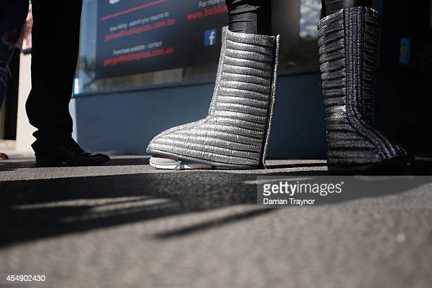 A detail shot of the costume boots of Trent Cotchin as he speaks to the media at the Richmond Tigers AFL Mad Monday celebrations at The Sporting...
