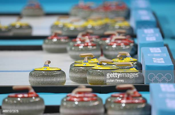 A detail shot of the curling stones during the Curling Round Robin match between China and Great Britain during day six of the Sochi 2014 Winter...