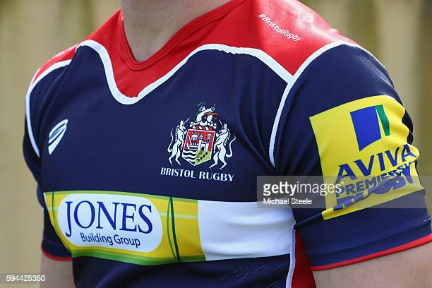Detail shot of the home shirt during the Bristol Rugby squad photo call for the 20162017 Aviva Premiership Rugby season on August 23 2016 in Bristol...