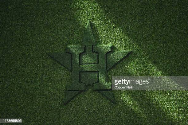 A detail shot of the Houston Astros logo in the batter's eye in centerfield during the ALDS Game 1 between the Tampa Bay Rays and the Houston Astros...