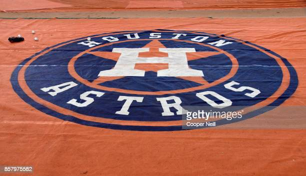 A detail shot of the Houston Astros logo is seen on the tarp during batting practice before Game 1 of the American League Division Series against the...