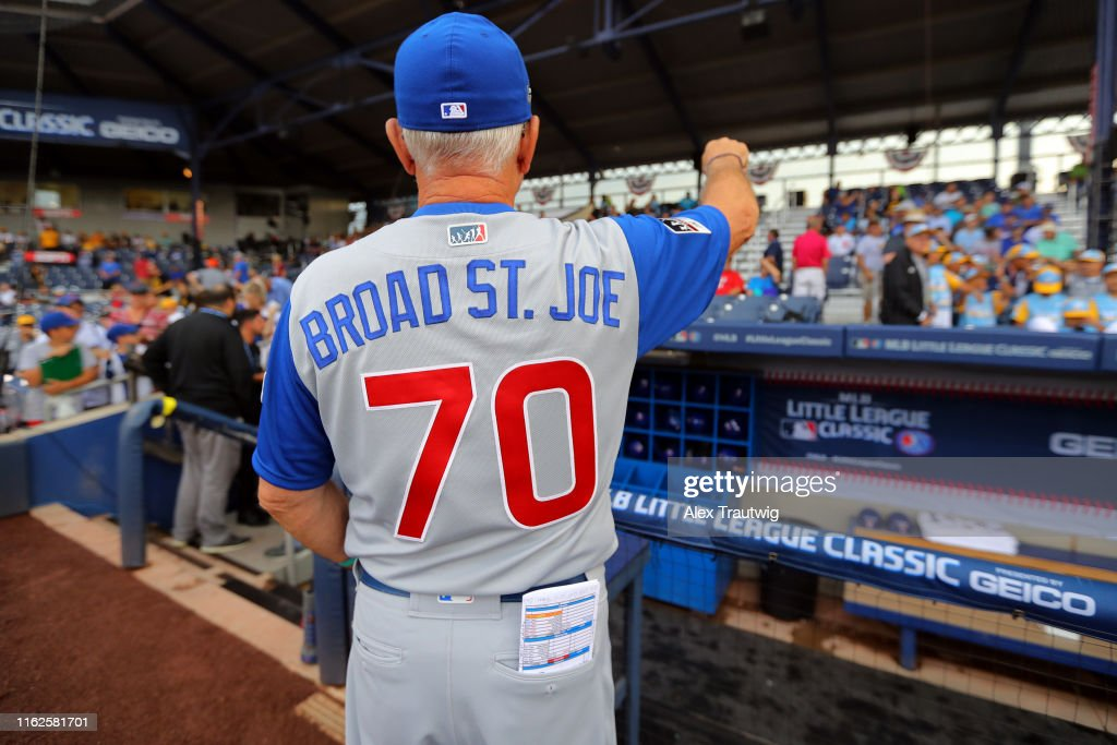 new arrival 28414 927db A detail shot of the jersey of Manager Joe Maddon the 2019 ...