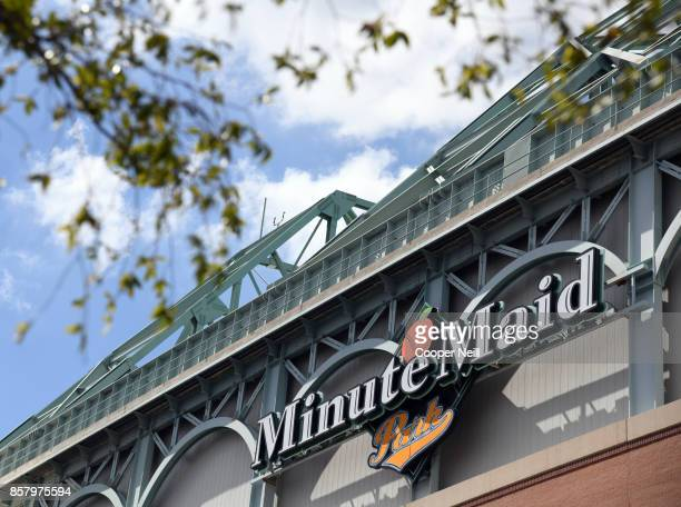 A detail shot of the logo on the exterior of Minute Maid Park before Game 1 of the American League Division Series between the Boston Red Sox and the...
