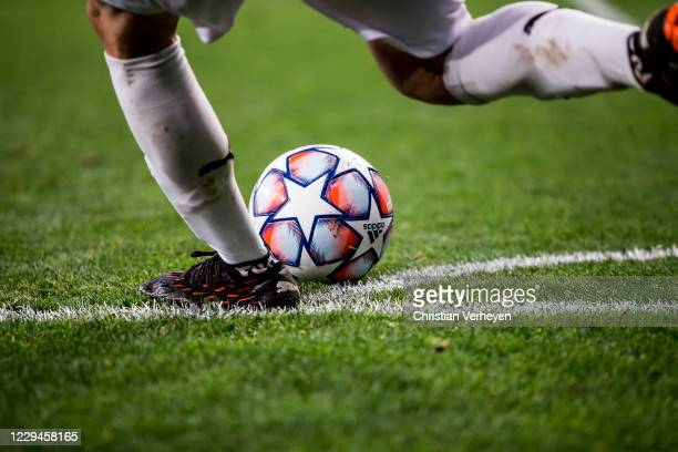 A detail shot of the match ball and Jonas Hofmann of Borussia Moenchengladbach at corner kick during the Group B UEFA Champions League match between...
