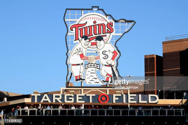 Detail shot of the Minnesota Twins logo atop of Target Field before Game 3 of the ALDS between the New York Yankees and the Minnesota Twins on...