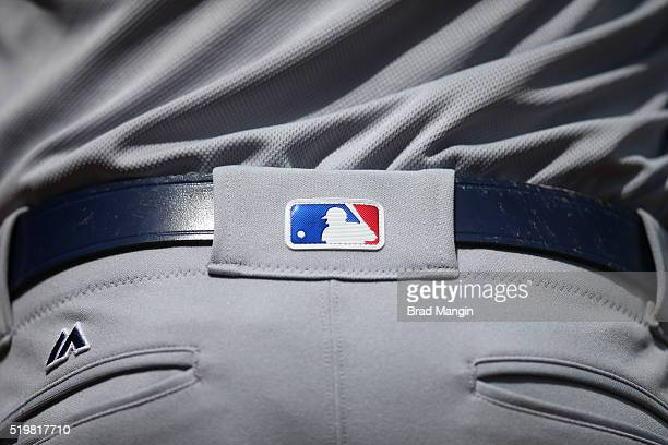 Detail shot of the MLB logo on the back of the Majestic uniform pants worn by Chase Utley of the Los Angeles Dodgers during the game against the San...