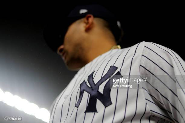 A detail shot of the New York Yankees logo on the uniform of Gleyber Torres of the New York Yankees prior to Game 3 of the ALDS against the Boston...