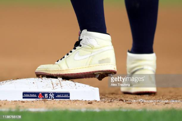 Detail shot of the Nike cleats worn by Clint Frazier of the New York Yankees during the game between the Boston Red Sox and the New York Yankees at...