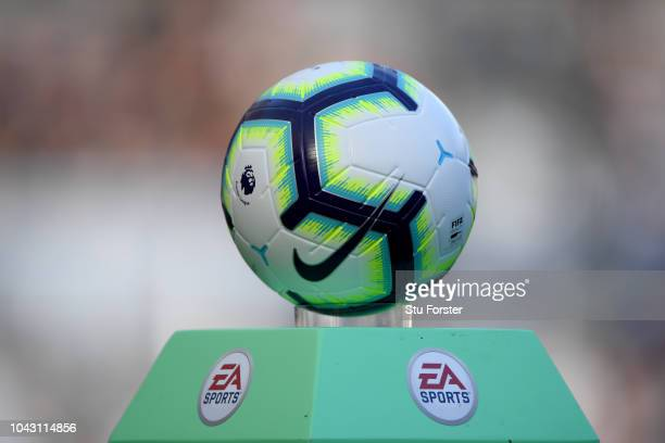 A detail shot of the Nike match ball on the EA Sports plinth during the Premier League match between Newcastle United and Leicester City at St James...