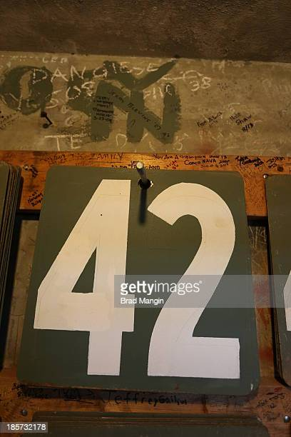 A detail shot of the number 42 inside of the Green Monster before Game 2 of the 2013 World Series between the Boston Red Sox and the St Louis...