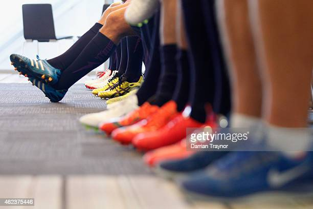 A detail shot of the players boots as they line up on team photo day during a Melbourne Storm NRL media opportunity at AAMI Park on January 28 2015...