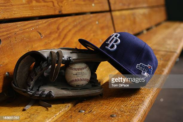 A detail shot of the Postseason logo on game hat of the Tampa Bay Rays before Game 3 of the American League Division Series between the Tampa Bay...