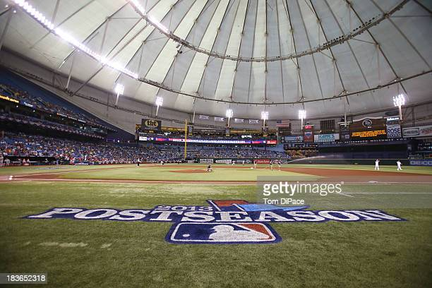 A detail shot of the Postseason logo on the field before Game 3 of the American League Division Series between the Tampa Bay Rays and the Boston Red...