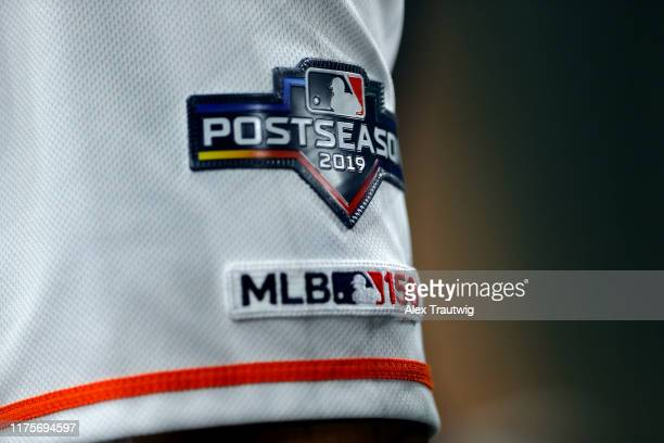 A detail shot of the Postseason logo on the sleeve of a Houston Astros player during Game 2 of the ALCS between the New York Yankees and the Houston...