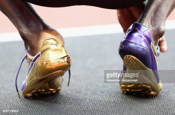 A detail shot of the Puma running spikes of Usain Bolt during day two of the 16th IAAF World Athletics Championships London 2017 at The London...