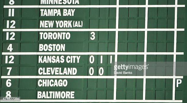 A detail shot of the scoreboard showing the postponement of the game in Baltimore because of riots before the game between the Chicago Cubs and the...