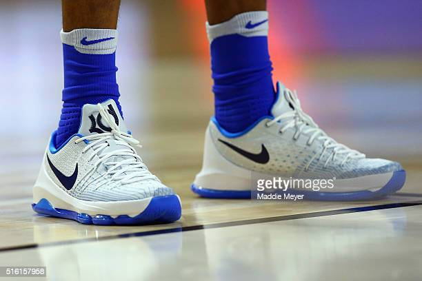 A detail shot of the shoes of Brandon Ingram of the Duke Blue Devils during the game between the North CarolinaWilmington Seahawks and the Duke Blue...