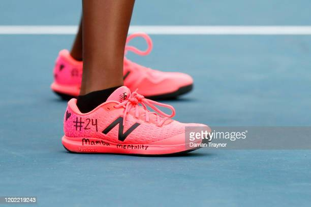 A detail shot of the shoes of Coco Gauff of the United States that pay tribute to NBA star Kobe Bryant during her third round match Women's doubles...