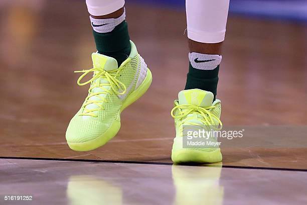 A detail shot of the shoes of Ishmail Wainright of the Baylor Bears during the game between the Yale Bulldogs and the Baylor Bears in the first round...