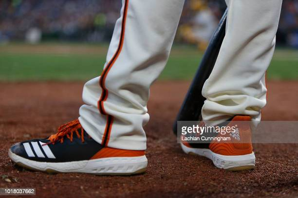 A detail shot of the shoes worn by Andrew Suarez of the San Francisco Giants in the ondeck circle during the game against the Pittsburgh Pirates at...