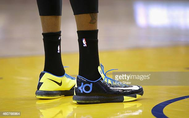 A detail shot of the shoes worn by Kevin Durant of the Oklahoma City Thunder during their game against the Golden State Warriors at ORACLE Arena on...