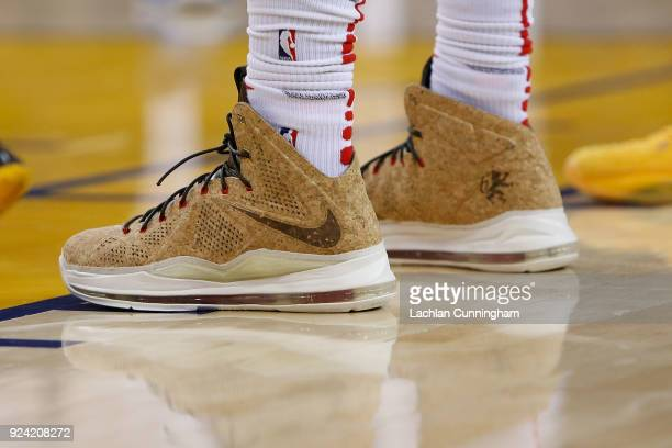 A detail shot of the shoes worn by Montrezl Harrell of the Los Angeles Clippers during their game against the Golden State Warriors at ORACLE Arena...