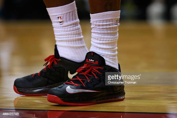 A detail shot of the sneakers of LeBron James of the Miami Heat on court during a game against the Washington Wizards at American Airlines Arena on...