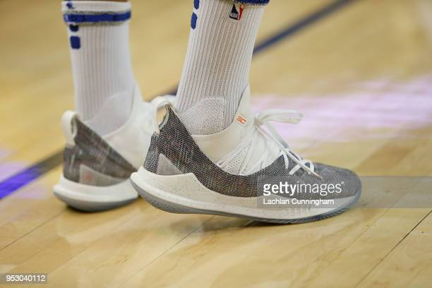 A detail shot of the sneakers worn by Stephen Curry of the Golden State Warriors in the warm up before Game One of the Western Conference Semifinals...