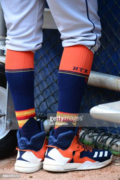 A detail shot of the socks and sneakers of Carlos Correa of the Houston Astros during batting practice prior to Game 2 of the 2017 World Series...