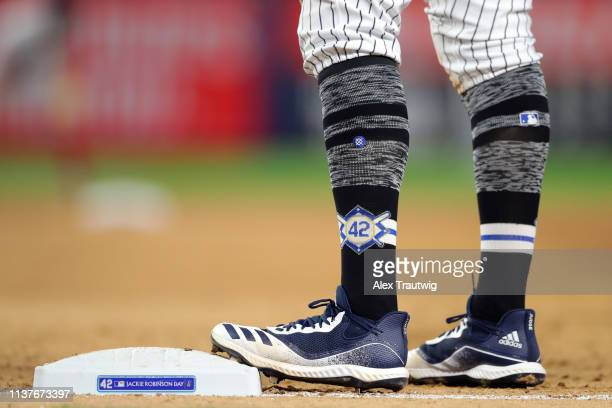 A detail shot of the Stance Jackie Robinson Day socks worn by Aaron Judge of the New York Yankees during the game between the Boston Red Sox and the...