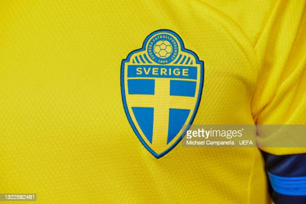 Detail shot of the Sweden kit during the official UEFA Euro 2020 media access day on June 04, 2021 in Stockholm, Sweden.