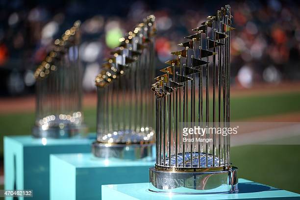 A detail shot of the three San Francisco Giants World Series trophies on the field during the San Francisco Giants 2014 World Series Ring ceremony...