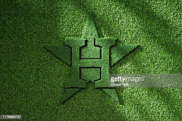 A detail shot of the topiary Houston Astros logo at center field prior to Game 6 of the ALCS between the New York Yankees and the Houston Astros at...