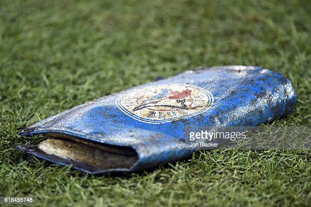 A detail shot of the Toronto Blue Jays pine tar rag on the field during batting practice prior to Game 4 of ALCS between the Cleveland Indians and...