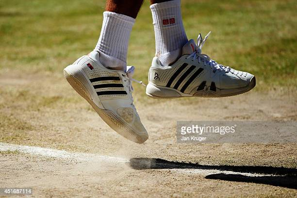 Detail shot of the trainers of Novak Djokovic of Serbia during his Gentlemen's Singles semifinal match against Grigor Dimitrov of Bulgaria on day...