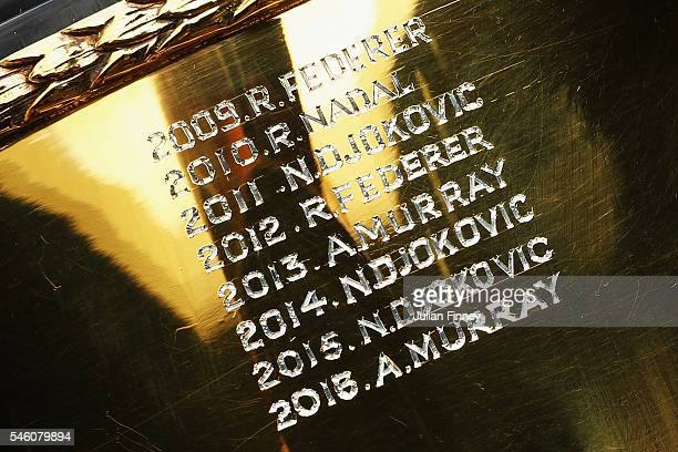 A detail shot of the trophy after Andy Murray of Great Britain revisited centre court at Wimbledon on July 11 2016 in London England