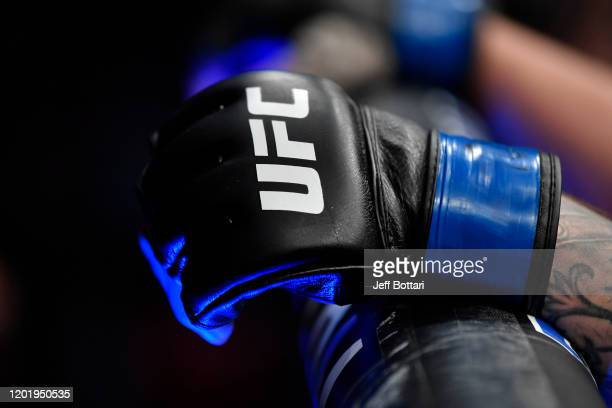 A detail shot of the UFC glove as Darko Stosic of Serbia rests against the cage during the UFC Fight Night event at PNC Arena on January 25 2020 in...
