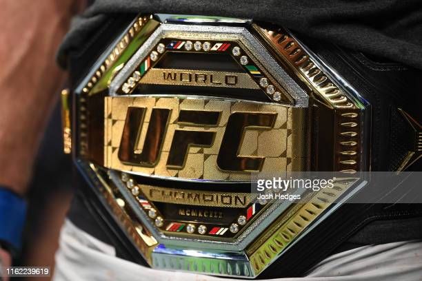 A detail shot of the UFC Legacy Championship Belt during the UFC 241 event at the Honda Center on August 17 2019 in Anaheim California