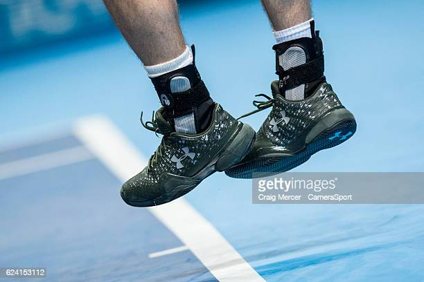 A detail shot of the Under Armour shoes ankle supports of Andy Murray of Great Britain against Stan Wawrinka of Switzerland in their Group John...
