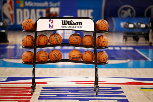 Detail shot of the Wilson basketball during the 2021 NBA Draft Combine on June 25, 2021 at the Wintrust Arena in Chicago, Illinois. NOTE TO USER:...